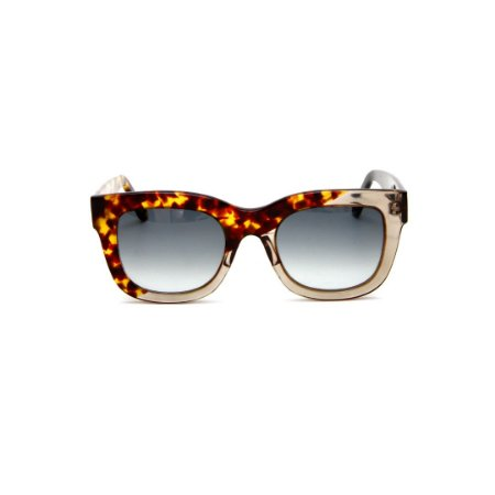Óculos de sol Gustavo Eyewear G57 11. Cor: Animal print e fumê. Haste animal print e preta. Lentes cinza.