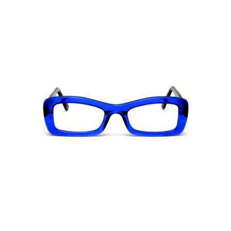 Armação para óculos de Grau Gustavo Eyewear G34 400. Cor: Azul translúcido. Haste preta.