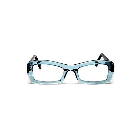 Armação para óculos de Grau Gustavo Eyewear G34 600. Cor: Acqua. Haste preta.