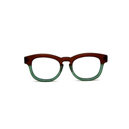 Armação para óculos de Grau Gustavo Eyewear G94 2. Cor: Marrom e verde fosco. Haste animal print.