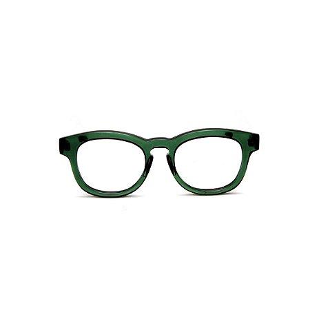 Armação para óculos de Grau Gustavo Eyewear G94 5. Cor: Verde translúcido. Haste preta.