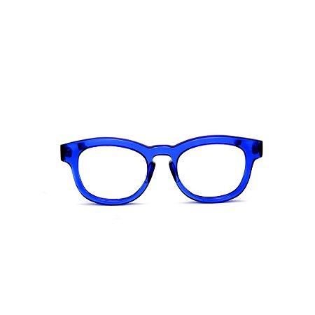 Armação para óculos de Grau Gustavo Eyewear G94 10. Cor: Azul translúcido. Haste animal print.