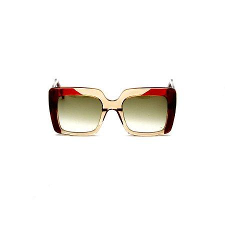 Óculos de sol Gustavo Eyewear G59 6. Cor: Âmbar, marrom e vermelho. Haste marrom. Lentes marrom.