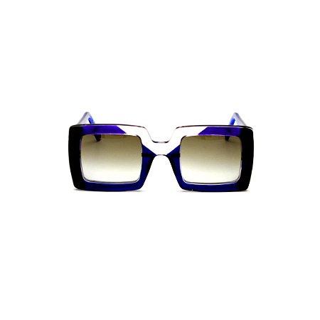 Óculos de sol Gustavo Eyewear G01 6 Cor: Azul, preto e crista. Haste azul. Lentes cinza.
