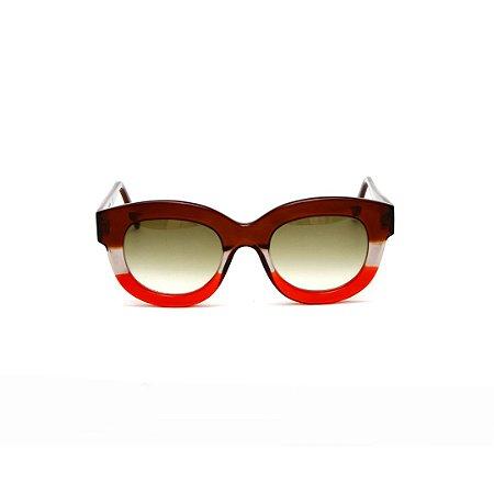 Armação para óculos de Grau Gustavo Eyewear G12 4. Cor: Marrom, fumê e vermelho. Haste marrom. Lentes marrom.