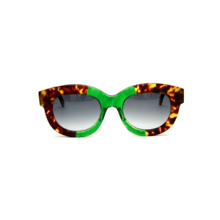 Armação para óculos de Grau Gustavo Eyewear G12 7. Cor: Animal print e verde. Haste animal print. Lentes cinza.