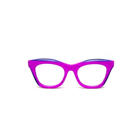 Armação para óculos de Grau Gustavo Eyewear G69 D. Cor: Lilás opaco com ponta azul. Haste preta.