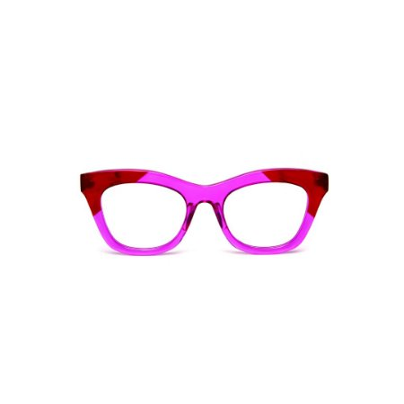 Armação para óculos de Grau Gustavo Eyewear G69 200. Cor: Lilás e vermelho translúcido. Haste animal print.