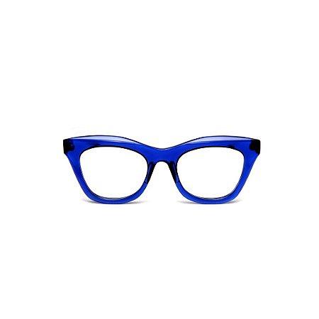 Armação para óculos de Grau Gustavo Eyewear G69 M. Cor: Azul translúcido. Haste animal print.