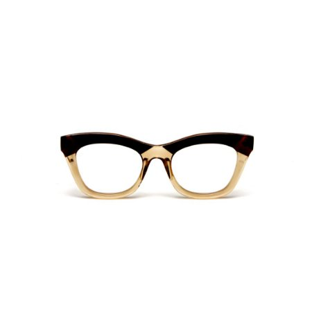 Armação para óculos de Grau Gustavo Eyewear G69 N. Cor: Âmbar e marrom. Haste animal print.