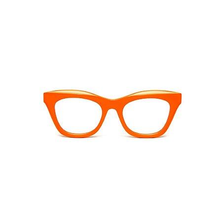 Armação para óculos de Grau Gustavo Eyewear G69 O. Cor: Laranja opaco. Haste animal print.