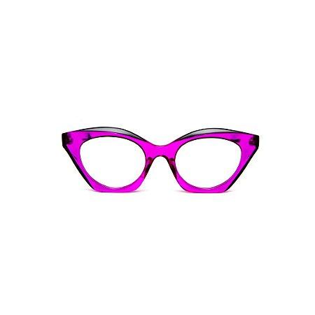 Armação para óculos de Grau Gustavo Eyewear G71 1. Cor: Violeta translúcido com pontas pretas. Haste preta.