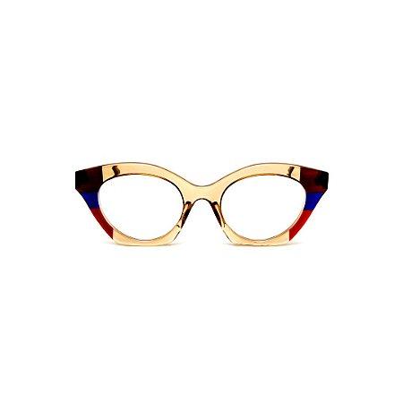 Armação para óculos de Grau Gustavo Eyewear G71 3. Cor: Âmbar, marrom, azul e vermelho translúcido. Haste animal print.
