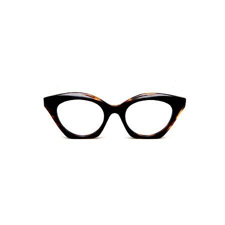 Armação para óculos de Grau Gustavo Eyewear G71 10. Cor: Preto com ponta animal print. Haste animal print.