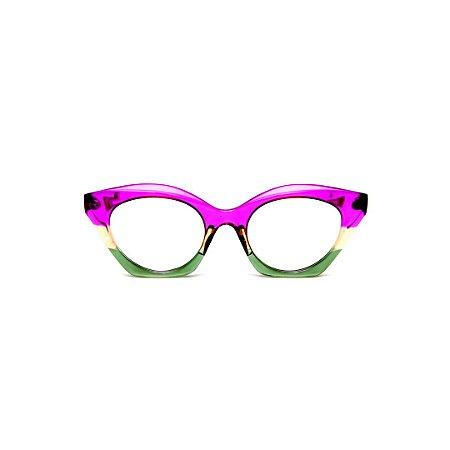 Armação para óculos de Grau Gustavo Eyewear G71 14. Cor: Lilás, âmbar e verde translúcido. Haste lilás.