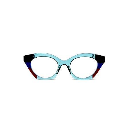 Armação para óculos de Grau Gustavo Eyewear G71 16. Cor: Acqua, preto, azul e vermelho. Haste animal print.