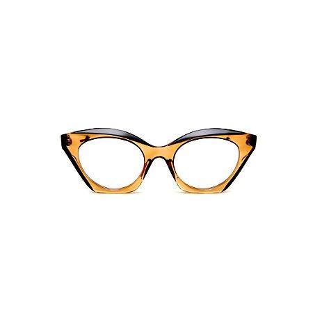 Armação para óculos de Grau Gustavo Eyewear G71 17. Cor: Âmbar com ponta preta. Haste preta.