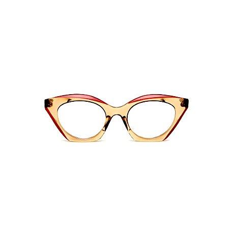 Armação para óculos de Grau Gustavo Eyewear G71 21. Cor: Âmbar com ponta vermelho translúcido. Haste animal print.