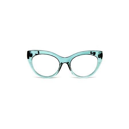 Armação para óculos de Grau Gustavo Eyewear G65 4. Cor: Acqua. Haste preta.