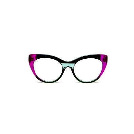Armação para óculos de Grau Gustavo Eyewear G65 5. Cor: Violeta translúcido, preto e acqua. Haste violeta.