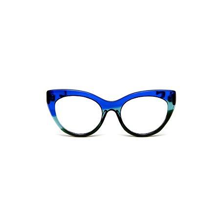 Armação para óculos de Grau Gustavo Eyewear G65 7. Cor: Azul, acqua e verde translúcido. Haste azul.