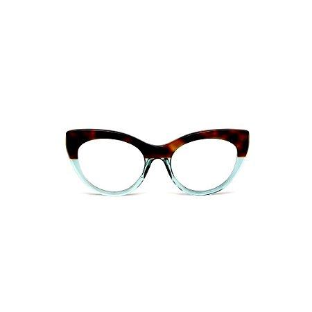 Armação para óculos de Grau Gustavo Eyewear G65 8. Cor: Animal print e acqua. Haste animal print.