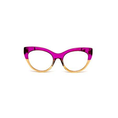 Armação para óculos de Grau Gustavo Eyewear G65 15. Cor: Lilás e caqui translúcido. Haste animal print.