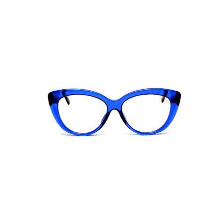Armação para óculos de Grau Gustavo Eyewear G107 3. Cor: Azul translúcido. Haste animal print.