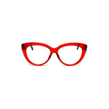 Armação para óculos de Grau Gustavo Eyewear G107 5. Cor: Vermelho translúcido. Haste animal print.