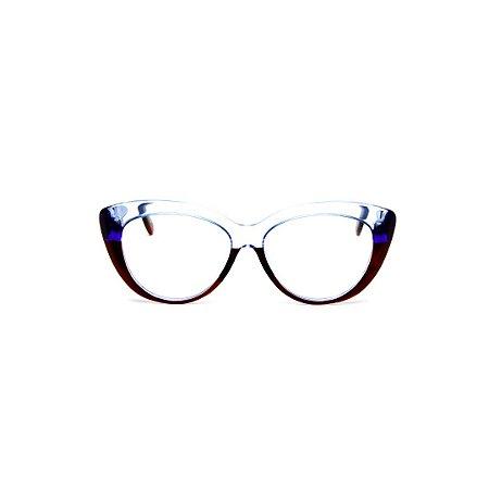 Armação para óculos de Grau Gustavo Eyewear G107 9. Cor: Marrom, cristal e azul translúcido.. Haste animal print.