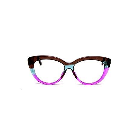Armação para óculos de Grau Gustavo Eyewear G107 15. Cor: Marrom, acqua e violeta translúcido. Haste marrom.