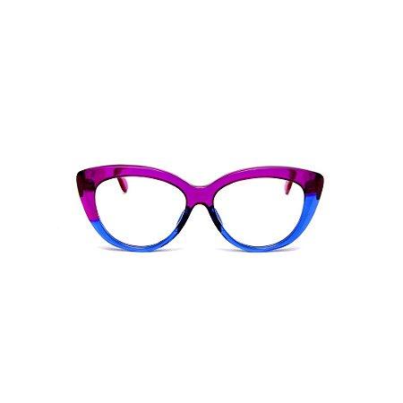 Armação para óculos de Grau Gustavo Eyewear G107 16. Cor: Violeta e azul translúcido. Haste violeta.