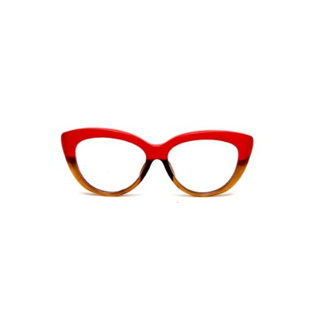 Armação para óculos de Grau Gustavo Eyewear G107 200. Cor: Vermelho opaco e âmbar. Haste vermelha.