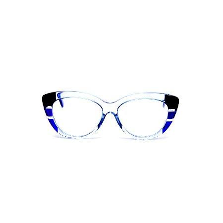 Armação para óculos de Grau Gustavo Eyewear G107 18. Cor: Cristal, azul e preto. Haste azul.