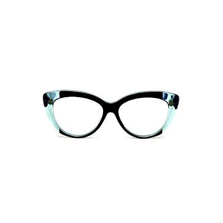 Armação para óculos de Grau Gustavo Eyewear G107 21. Cor: Preto e acqua. Haste azul.