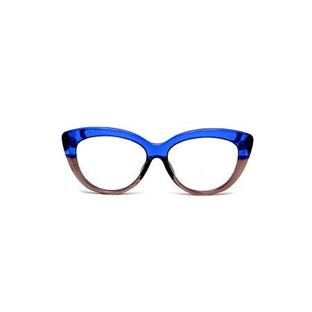 Armação para óculos de Grau Gustavo Eyewear G107 21. Cor: Azul e fumê translúcido. Haste azul.