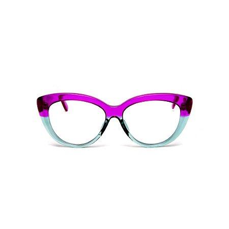 Armação para óculos de Grau Gustavo Eyewear G107 22. Cor: Violeta translúcido e acqua. Haste violeta.