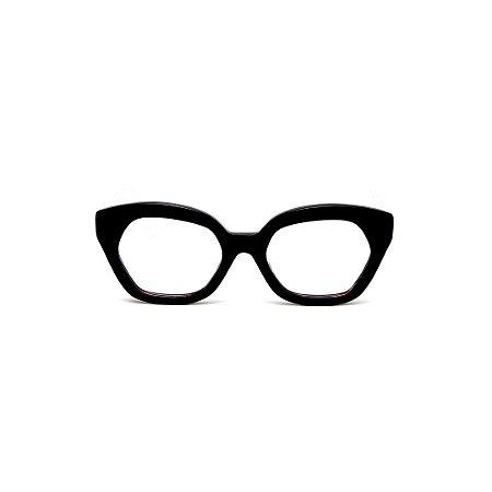 Armação para óculos de Grau Gustavo Eyewear G70 2. Cor: Preto. Haste animal print.