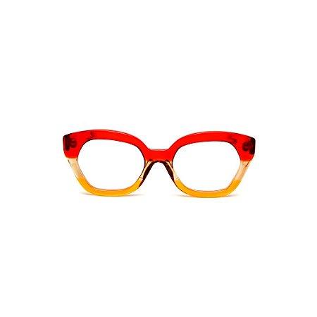 Armação para óculos de Grau Gustavo Eyewear G70 6. Cor: Vermelho, âmbar e amarelo translúcido. Haste vermelha.