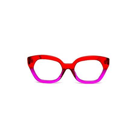 Armação para óculos de Grau Gustavo Eyewear G70 7. Cor: Vermelho e violeta translúcido. Haste vermelha.