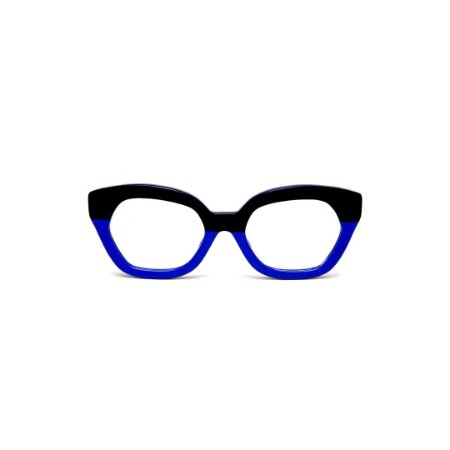 Armação para óculos de Grau Gustavo Eyewear G70 10. Cor: Preto e azul opaco. Haste animal print.