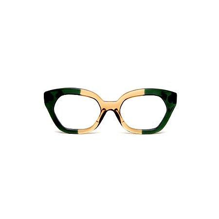 Armação para óculos de Grau Gustavo Eyewear G70 200. Cor: Vermelho translúcido. Haste animal print.