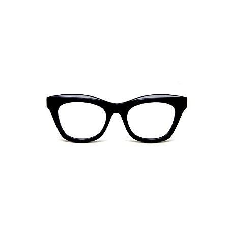 Armação para óculos de Grau Gustavo Eyewear G69 P. Cor: Preto. Haste preta.
