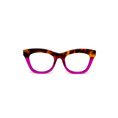 Armação para óculos de Grau Gustavo Eyewear G69 R. Cor: Animal print e violeta translúcido. Haste animal print.