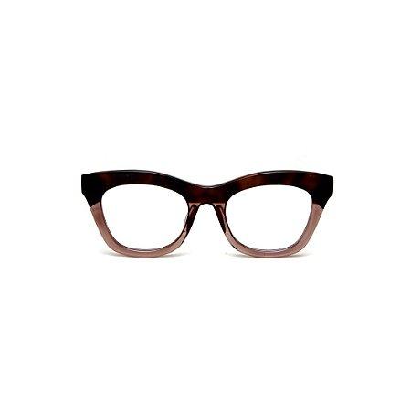 Armação para óculos de Grau Gustavo Eyewear G69 T. Cor: Marrom translúcido e fumê. Haste marrom.