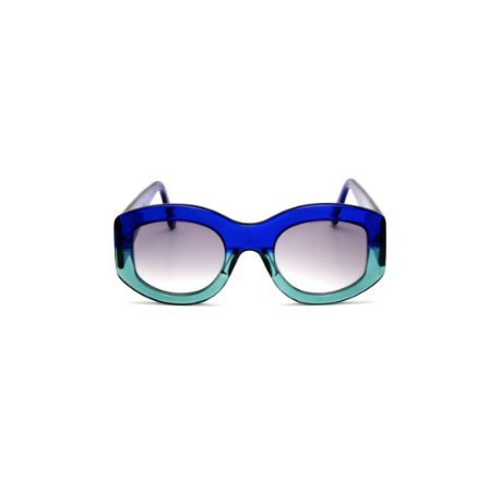 Óculos de Grau Gustavo Eyewear G60 3. Cor: Azul translúcido e acqua. Haste azul. Lentes cinza.