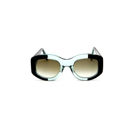 Óculos de sol Gustavo Eyewear G60 4. Cor: Verde translúcido e acqua. Haste verde. Lentes marrom.