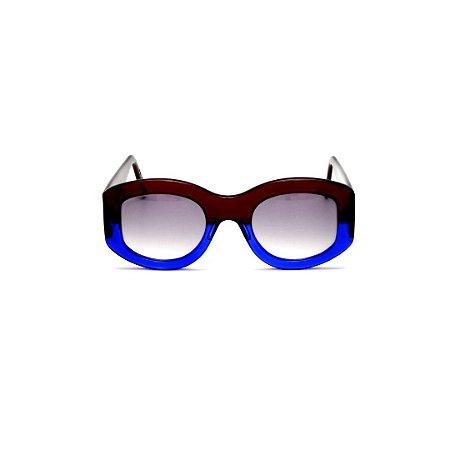 Óculos de Grau Gustavo Eyewear G60 5. Cor: Marrom e azul translúcido. Haste marrom. Lentes marrom.