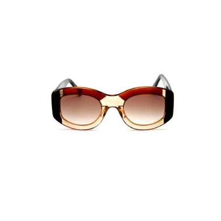 Óculos de sol Gustavo Eyewear G60 7. Cor: Âmbar, marrom translúcido e preto.. Haste preta. Lentes marrom.