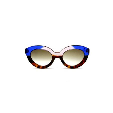 Óculos de sol Gustavo Eyewear G25 7. Cor: Animal print azul e fumê. Haste azul. Lentes marrom.
